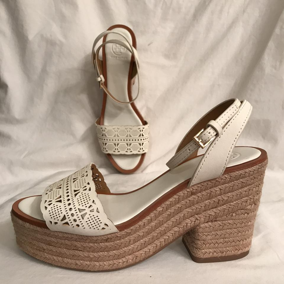 Tory Burch White Beige New Roselle Leather Laser Espadrille Cut Out 100mm Platform Espadrille Laser Sandals dc2914