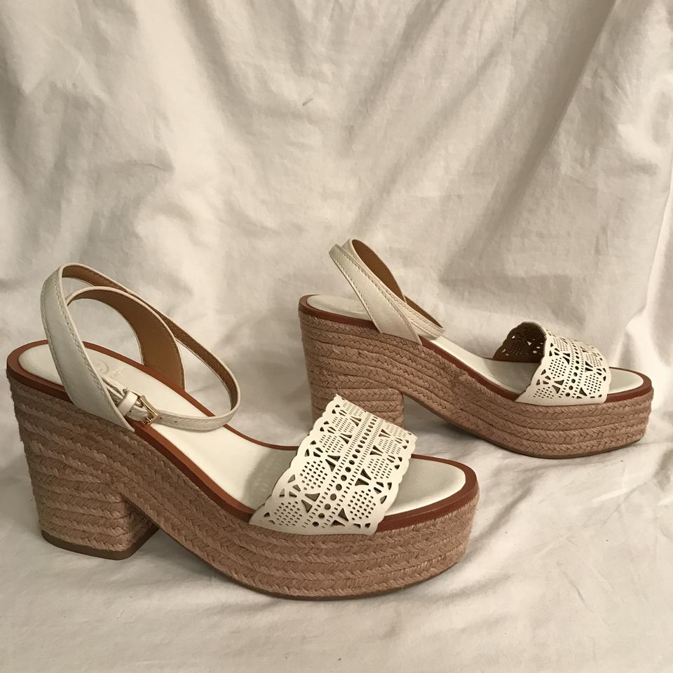 46f2ba6e3 Tory Burch Platform Leather Comfortable Wedge Summer White Beige Sandals  Image 7. 12345678
