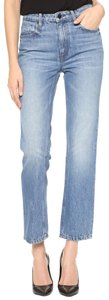 T by Alexander Wang Cropped Straight Leg Jeans-Light Wash