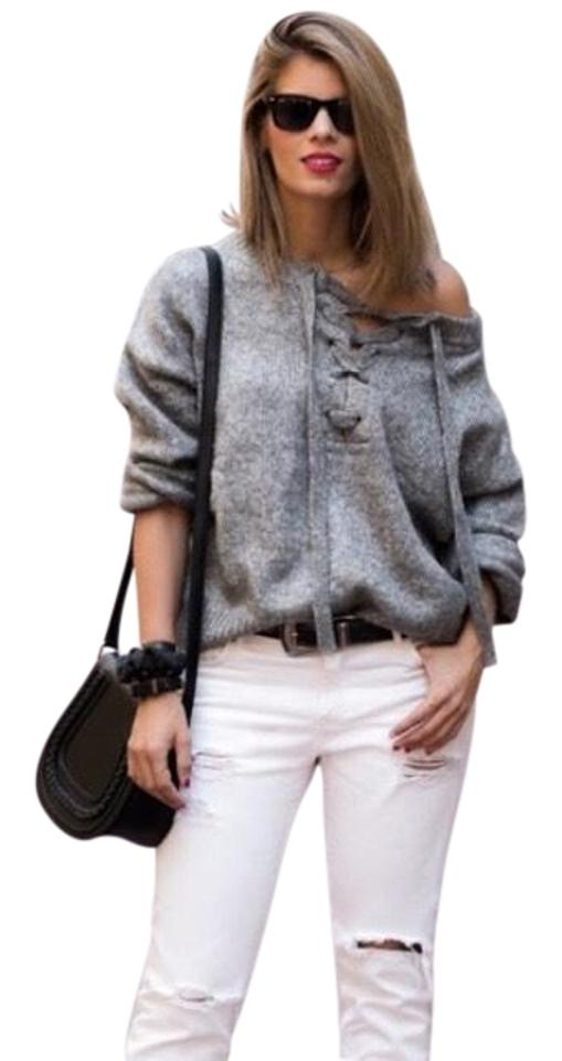 9a7916a1 Zara With Tie Front Grey Sweater - Tradesy