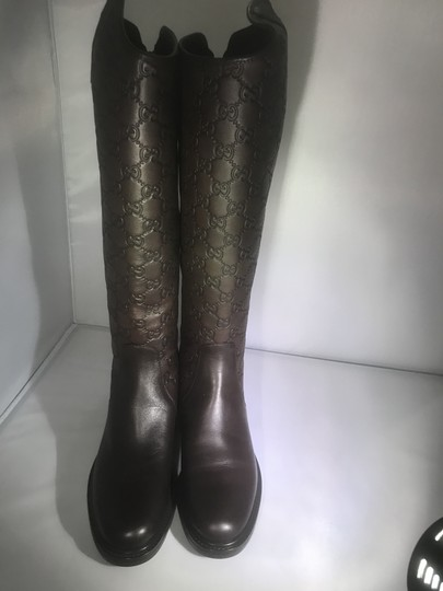 Gucci Knee High Guccissima Maud Leather Riding Brown Boots
