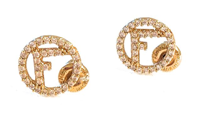 Item - Yellow Gold Fall/Winter 2017 Tone Logo Studs with Natural Zircon Earrings