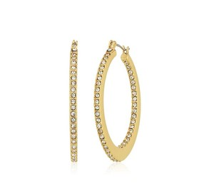 Rebecca Minkoff Gold & Pave Crystal Hoop Earrings