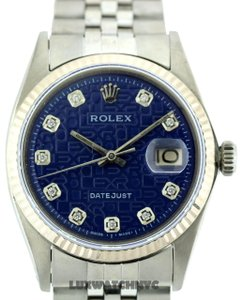 Rolex 36mm Men's Datejust S/S 18k White Gold Bezel Watch