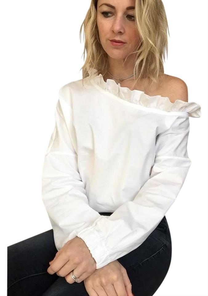 b91fa798f41 Tibi White Satin Poplin One Shoulder Blouse Size 12 (L) - Tradesy
