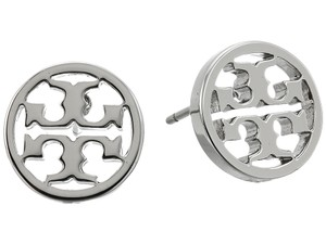Tory Burch New Tory Burch Small Circle Logo Studs - Silver