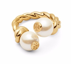 Tory Burch New Tory Burch Rope Logo Bead Ring - Size 7 16k Gold