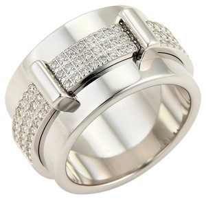Asprey Keria Diamond 18k White Gold 12mm Spinning Wide Band Ring