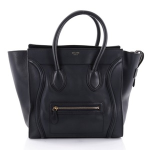 Cline Leather Tote in navy blue