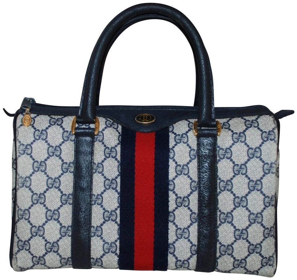 e95398fabcca Gucci Boston Vintage Doctor Web Navy Gg Monogram Leather Blue Canvas Satchel
