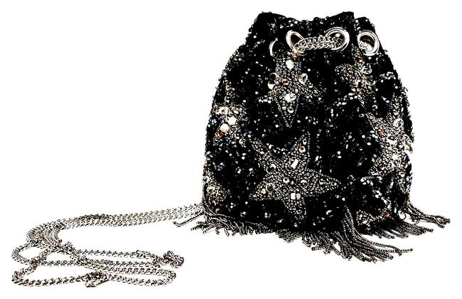 Item - Bucket Beaded Stars Black/Silver Cotton/Poly with Sequin and Beading Cross Body Bag