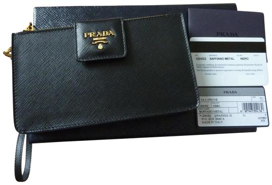 1bca05614f0bdb Prada $555 PRADA 1ZH032 Saffiano Leather iPhone Wristlet Purse Strap BLACK  Image 0 ...