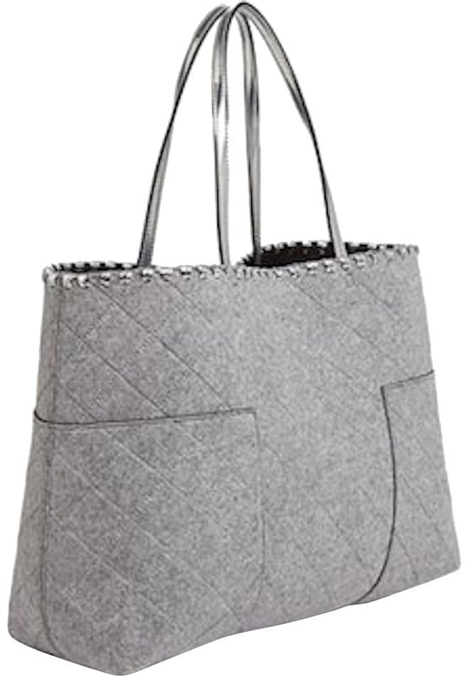 Tory Burch Gray Amp Silver Fabric And Leather T Block Felt