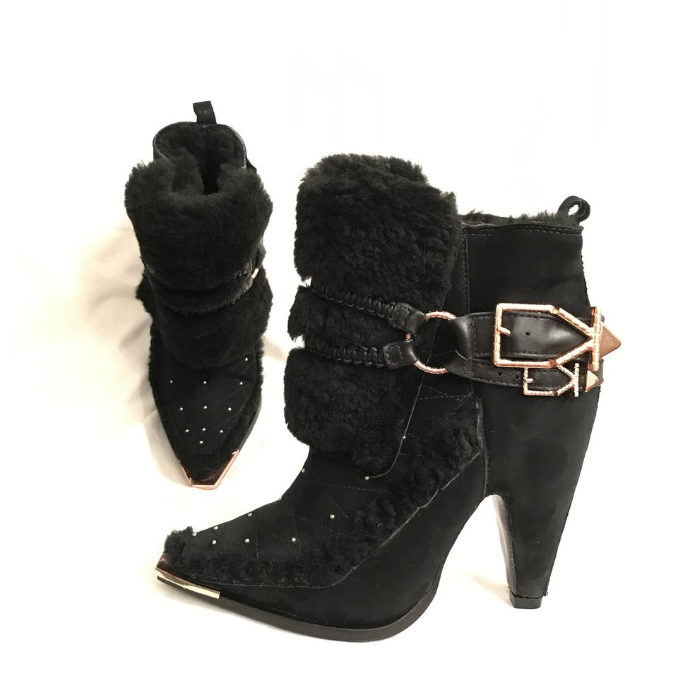 a519e9012e19 Ivy Kirzhner Suede Sheepskin Leather Sheep Shearling Ankle Black Rose Gold  Boots Image 0 ...