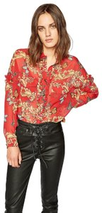 The Kooples Silk Luxury Butterfly Breezy Top Red Burgundy