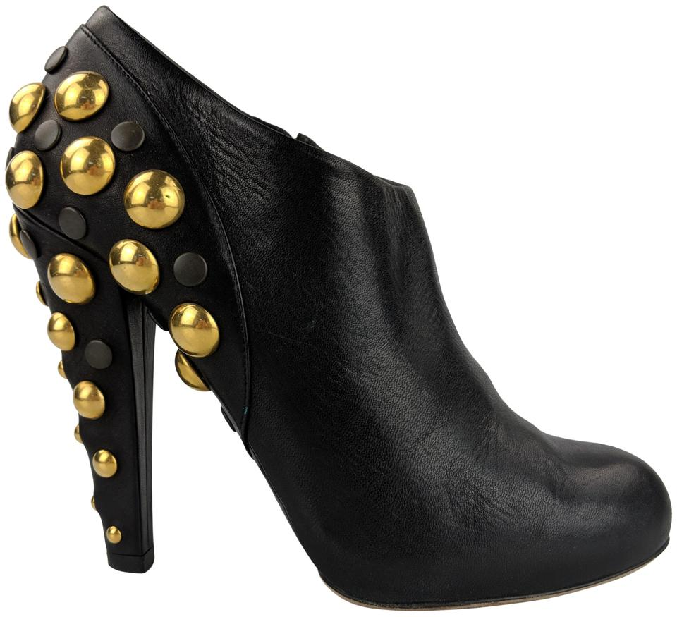 569d709ea Gucci Black Leather Babouska Style # 208394 Studded Boots/Booties ...