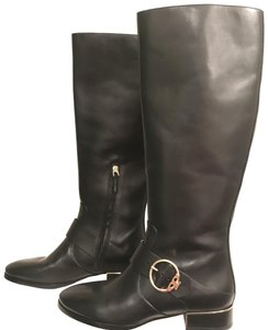 Tory Burch Leather Riding Equestrian Knee High Designer Black Gold Boots