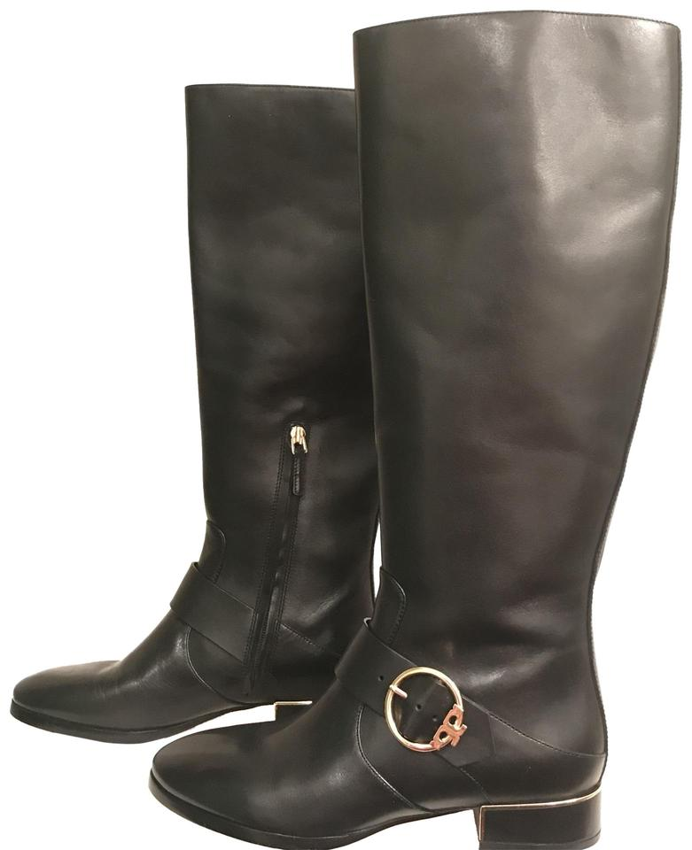 39b98a963 Tory Burch Black Gold New Leather Sofia Riding Boots Booties Size US ...