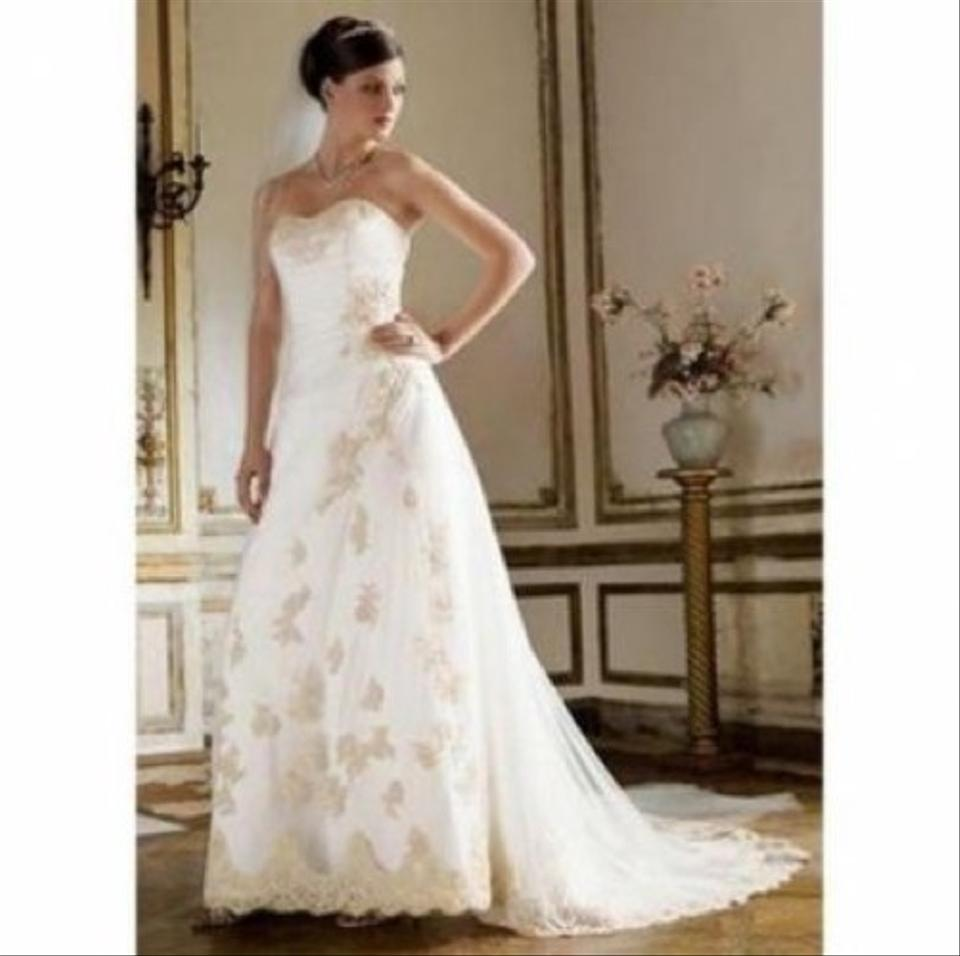 David\'s Bridal Ivory/Gold Imported Polyester Gown. Style T8818 ...