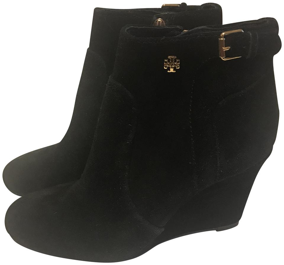 5fd34a8bf2c Tory Burch Black Milan Suede Wedge Heel Boots Booties Size US 5 ...