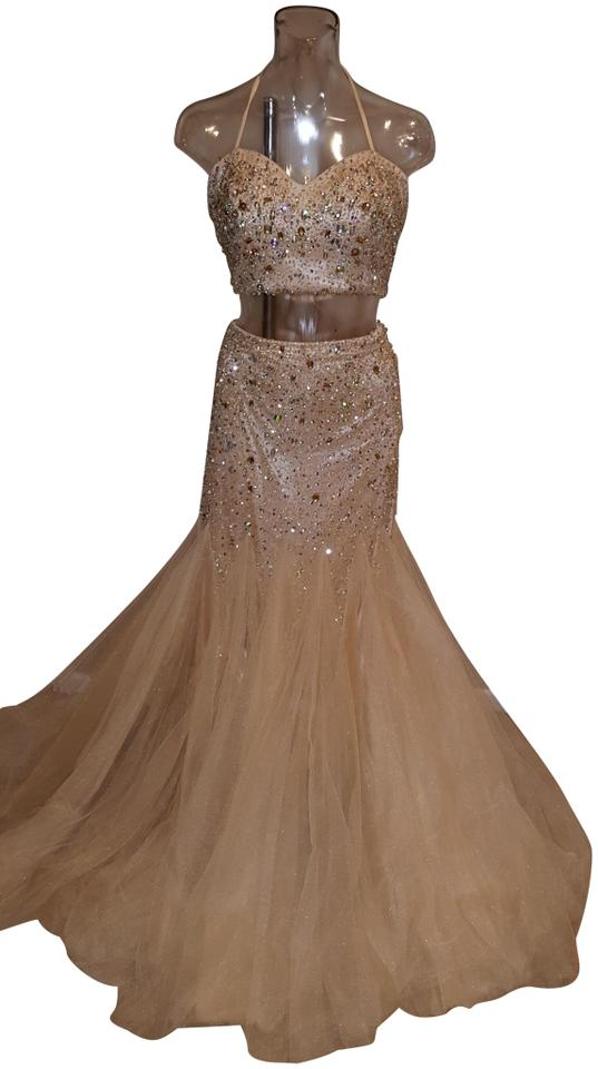 Camille la Vie Champagne Gold 2 Piece Top and Skirt Long ... - photo #48