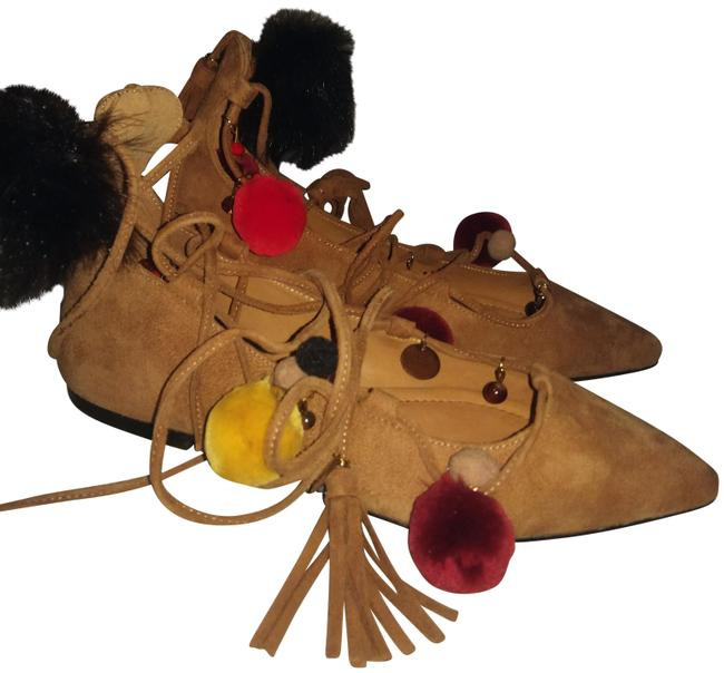 Item - Tan Multiple Suede with Strings and Tassels Flats Size EU 35 (Approx. US 5) Regular (M, B)