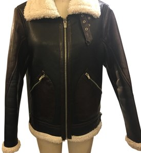 Zara black with Dark brown sleeves, lamb shearling cuffs Leather Jacket