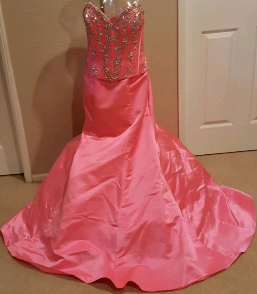 Camille la Vie Hot Pink New Mermaid Ball Gown Long Formal Dress Size ...