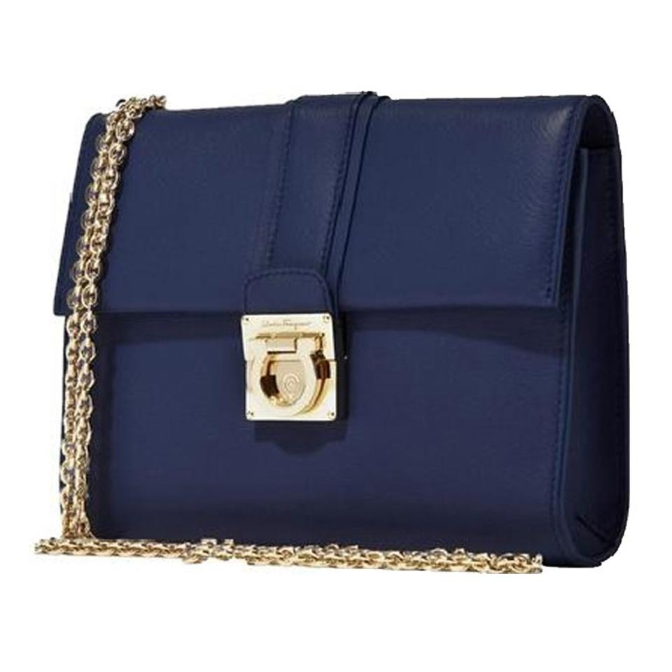 Salvatore Ferragamo Gancini Flip-lock Navy Blue Calfskin Leather Shoulder  Bag a0fa182e379dd