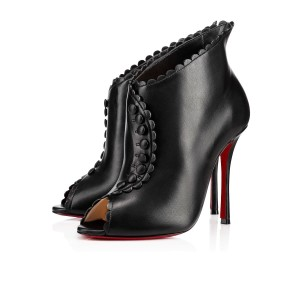 Christian Louboutin Deguise Stiletto Bootie Ankle Scalloped black Pumps