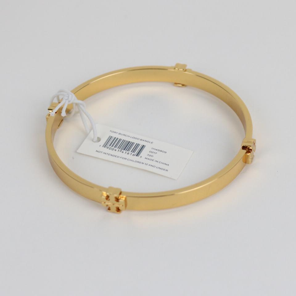 df9e8e86119f91 Tory Burch Goldtone Metallic Logo Station Bangle Bracelet - Tradesy