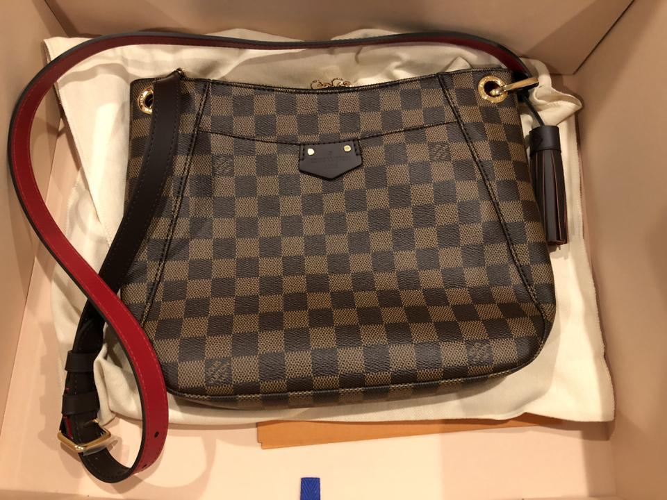 7f0cd7855c91f Louis Vuitton South Bank Besace Damier Brown Leather Cross Body Bag -  Tradesy