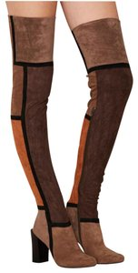 Jeffrey Campbell Patchwork Over The Knee Thigh High Brown Boots
