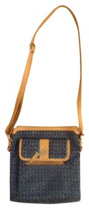 Giani Bernini Canvas Leather Flap Pocket Cross Body Bag