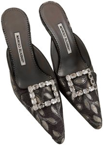 Manolo Blahnik Slides 8 Formal Rhinestones Gray Mules