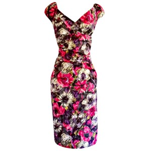 Suzi Chin Pencil Floral Wiggle Midi Sexy Dress