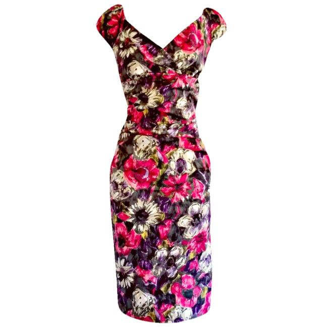 Item - Pink Floral Midi Pencil Fitted Gray Flowers Wiggle Mid-length Work/Office Dress Size 8 (M)