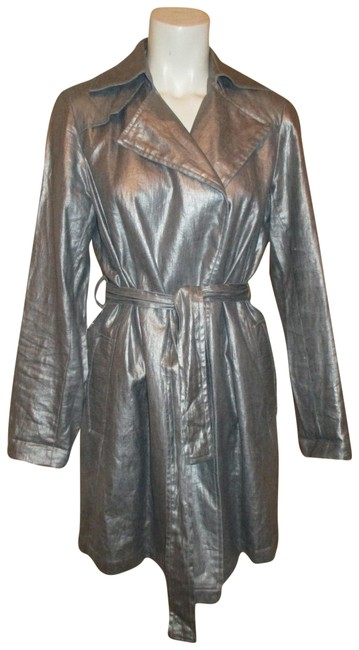 Silver Belted Rain Coat Size 2 (XS) Silver Belted Rain Coat Size 2 (XS) Image 1