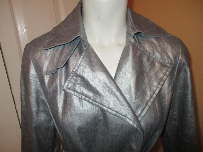 Silver Belted Rain Coat Size 2 (XS) Silver Belted Rain Coat Size 2 (XS) Image 2