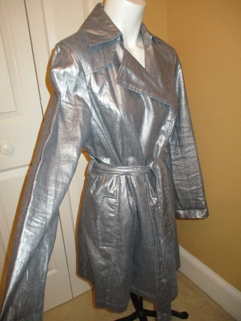 Silver Belted Rain Coat Size 2 (XS) Silver Belted Rain Coat Size 2 (XS) Image 3