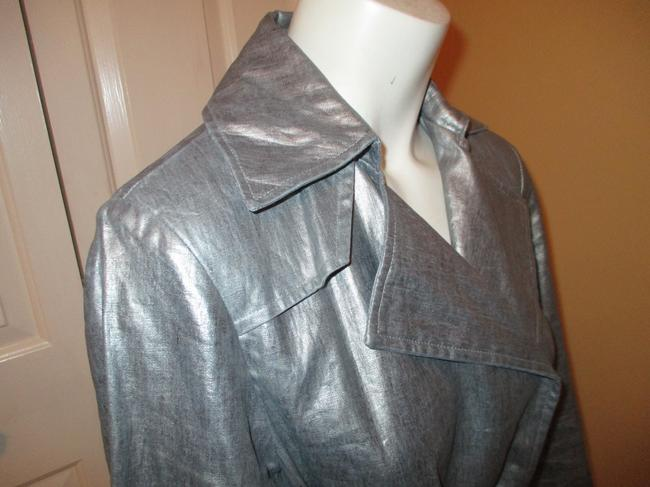 Silver Belted Rain Coat Size 2 (XS) Silver Belted Rain Coat Size 2 (XS) Image 4