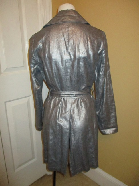 Silver Belted Rain Coat Size 2 (XS) Silver Belted Rain Coat Size 2 (XS) Image 5