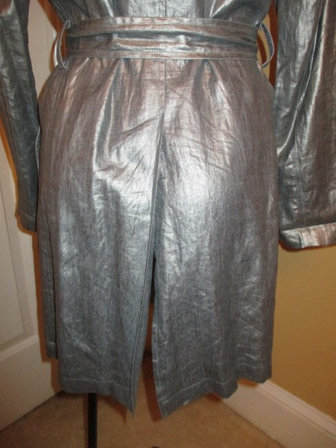 Silver Belted Rain Coat Size 2 (XS) Silver Belted Rain Coat Size 2 (XS) Image 6