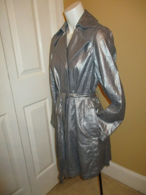 Silver Belted Rain Coat Size 2 (XS) Silver Belted Rain Coat Size 2 (XS) Image 7