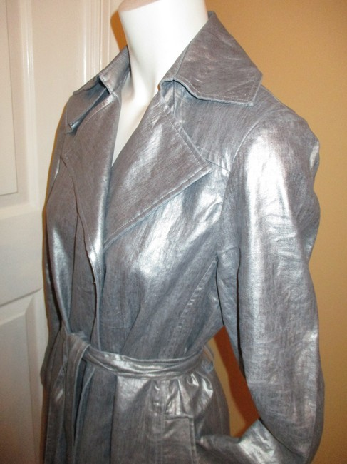 Silver Belted Rain Coat Size 2 (XS) Silver Belted Rain Coat Size 2 (XS) Image 8