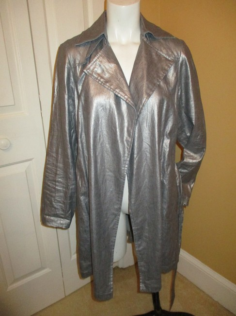 Silver Belted Rain Coat Size 2 (XS) Silver Belted Rain Coat Size 2 (XS) Image 9
