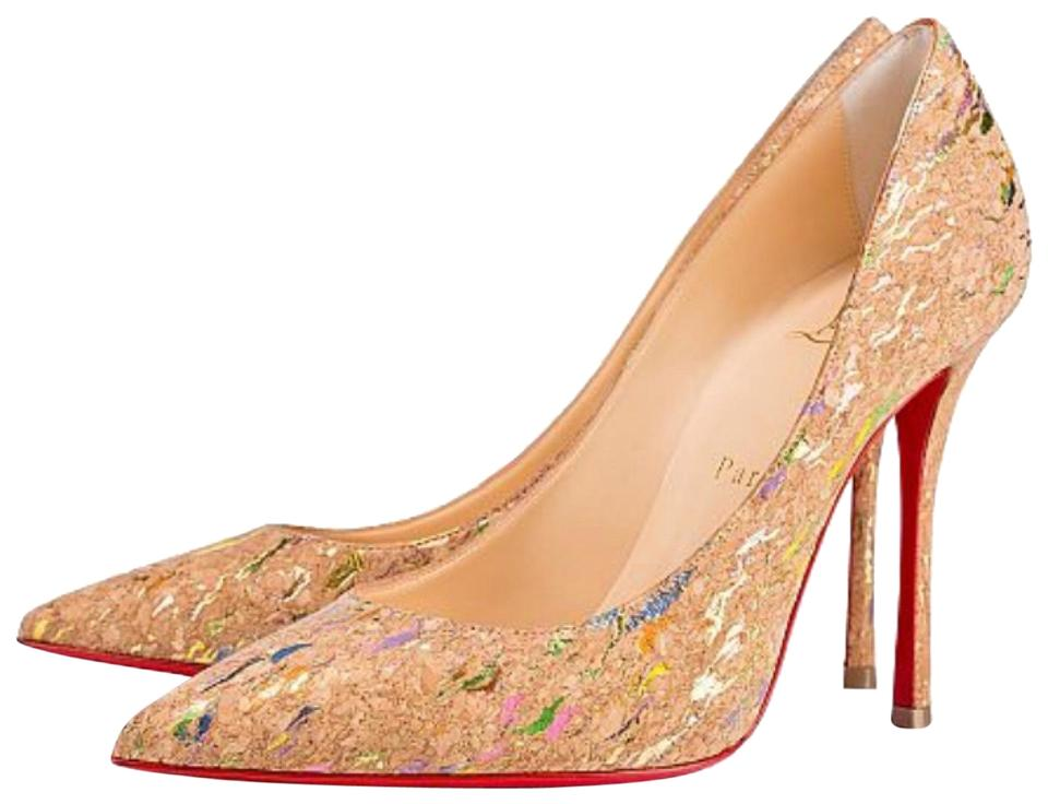 Christian Louboutin Beige Decoltish Liege Stiletto Lame Cork Gold Multi Stiletto Liege Pumps 843594