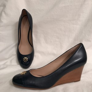 Tory Burch Wedge Leather Patent Leather Cap Toe Designer Blue Gold Pumps