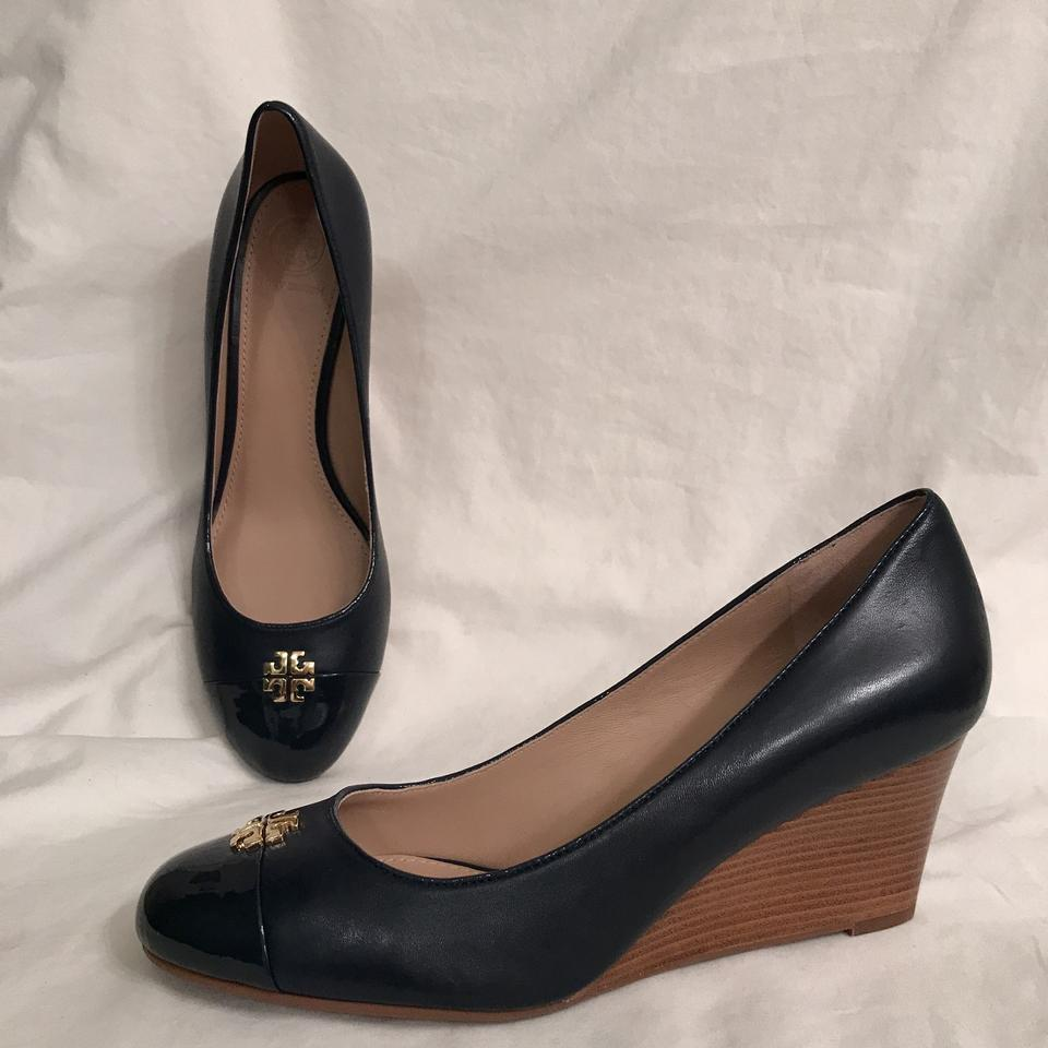 e2952224630 Tory Burch Wedge Leather Patent Leather Cap Toe Designer Blue Gold Pumps  Image 0 ...
