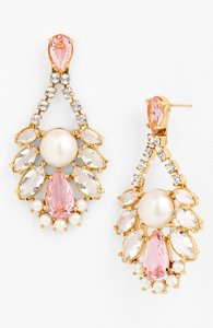 Kate Spade Crystal/Blush/Pearl/Gold Sunrise Cluster Chandelier Earrings